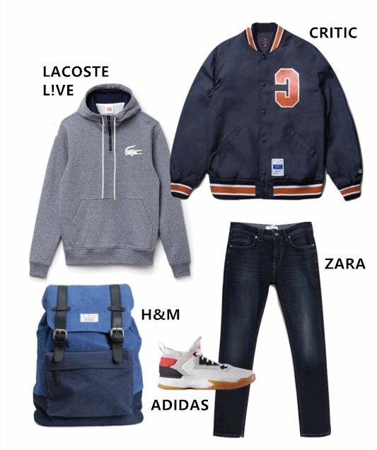恩澤的穿搭POINT就是韓國男大生平常最喜歡的穿搭,簡單的帽T和牛仔褲外面配上棒球外套或是最近當紅的飛行外套~