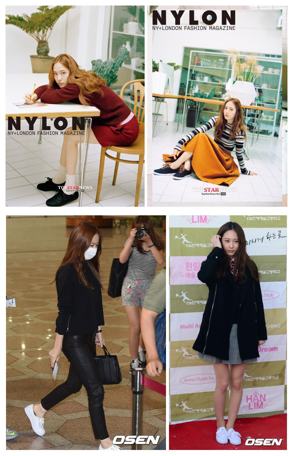 跟Sunny一樣,Krystal不管是拍畫報、出席活動,還是私服,最愛的單品也是黑白運動鞋,幾種截然不同的穿著配上黑白色的運動鞋居然都這麼合理!