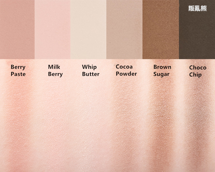 Skin Food的這款眼影盤都是霧面眼影,也都屬於比較日常可以使用的顏色~叛亂熊個人最喜歡Brown Sugar這個顏色