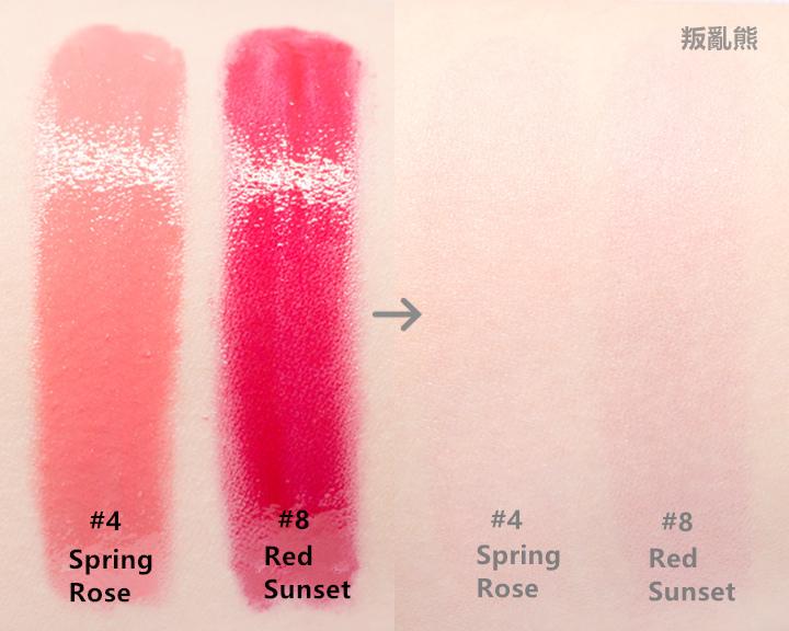 這隻唇膏是以「春天的晚霞」為構想,所以顏色多篇珊瑚色和紅色~因為是轉出來就沒辦法後退的產品,所以在使用的時候建議1mm一點一點的轉