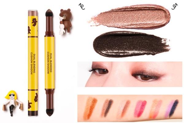 總共六種顏色組合,兩頭的設計,含有一深一淺的亮粉眼影~除了方便攜帶之外,不會飛粉及好抹勻的質地,可以說是補妝的第一選擇!