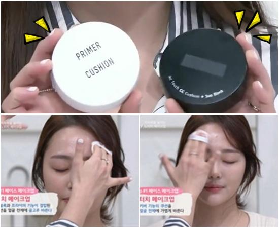 首先,底妝的部分又見到最近賣得嚇嚇叫的Vant36.5!之前偽少女也有介紹過「神級」的Vant36.5氣墊粉餅,共有黑白兩款,白色的Primer Cushion負責打底防曬、黑色則是強調遮瑕效果!韓國女生大部分都是黑白兩款一起買,先使用白色再用黑色,效果更明顯喔!