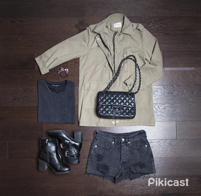 #軍綠夾克  #墨黑T #黑色刷破短褲  #高跟黑踝靴 #鍊包