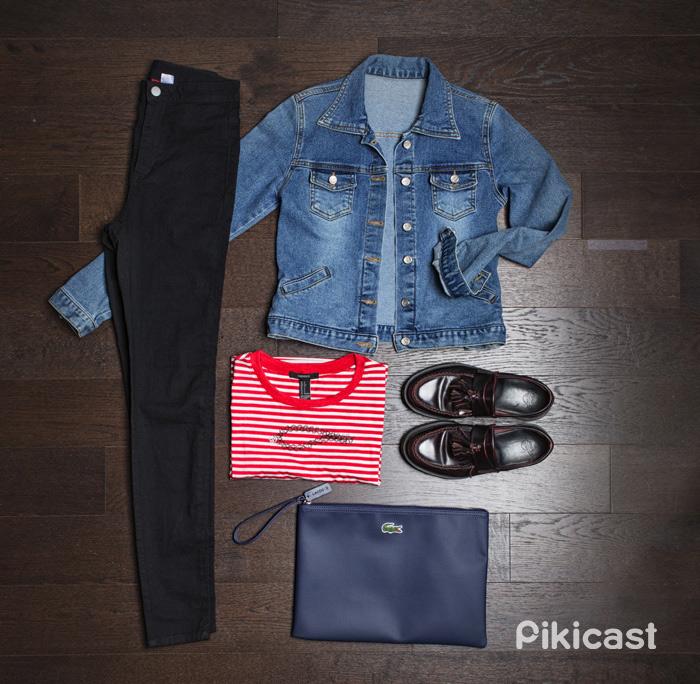 #丹寧外套 #紅白條紋T #黑色緊身褲 #流蘇皮鞋 #手拿包