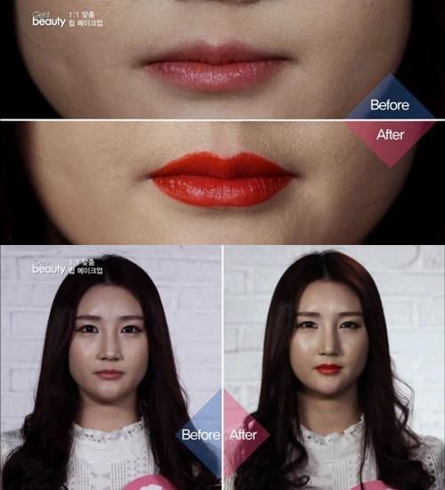利用唇筆重新描繪的上唇跟原本的嘴唇有明顯的差異之外,也讓上下唇的厚度更相近了
