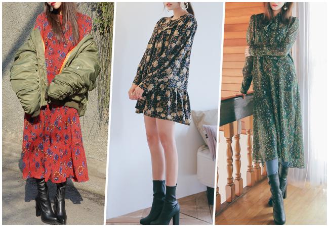 今年春季的花漾風格,較多是以印花、垂墜式的單品為主,長裙內搭緊身褲、黑色靴都是很on trend的穿搭方式!