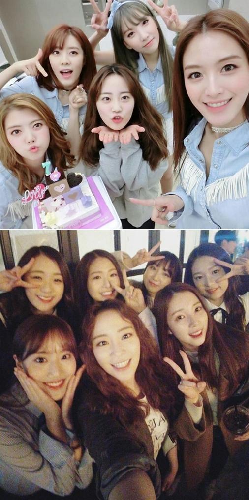 除了和同樣為DSP娛樂旗下藝人的師姐Rainbow,和新人女團APRIL成員們合照以外…