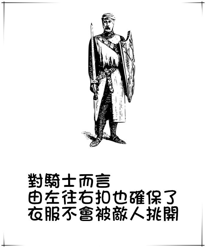 當時騎士的戰鬥標準姿勢,是左手拿盾牌,因此向右扣的衣服接合處就會被盾牌保護。