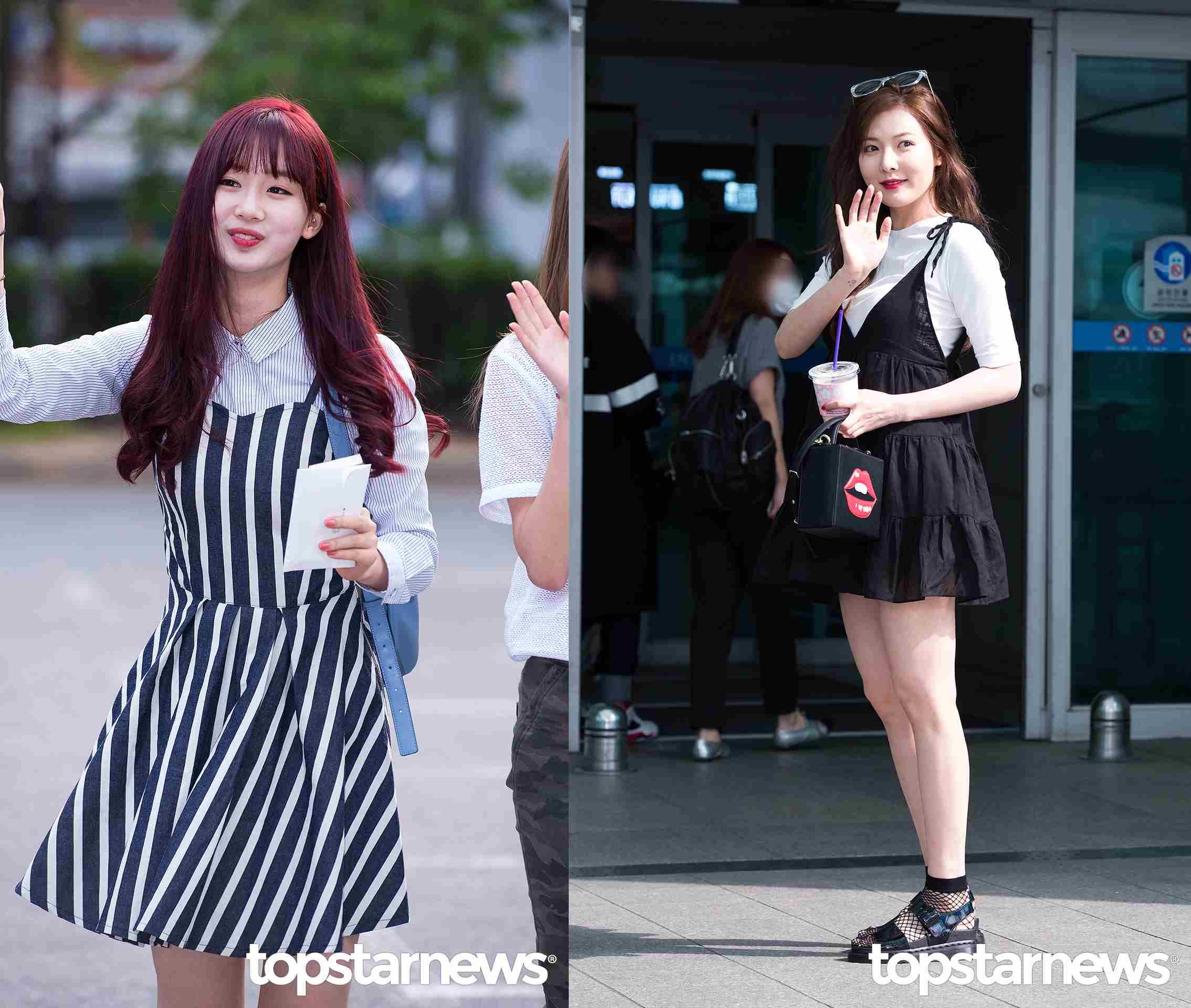 Style②細肩帶洋裝 除了普通的洋裝,今年春天開始細肩帶洋裝在韓國特別火熱,Berry Good多藝的格紋很有清純的學生氣息,而泫雅的黑色細肩帶連身裙搭配白素T+馬汀涼鞋+俏皮的小方包,展現出了不同於舞台上性感一面的青春活潑的氣息。