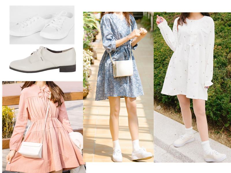 除了純白色的洋裝,還可以選比較適合夏天的嫩粉或者小碎花,也都充滿了甜美氣質。鞋子呢~最搭的就是白色帆布鞋X白襪子,或者白色牛津鞋。