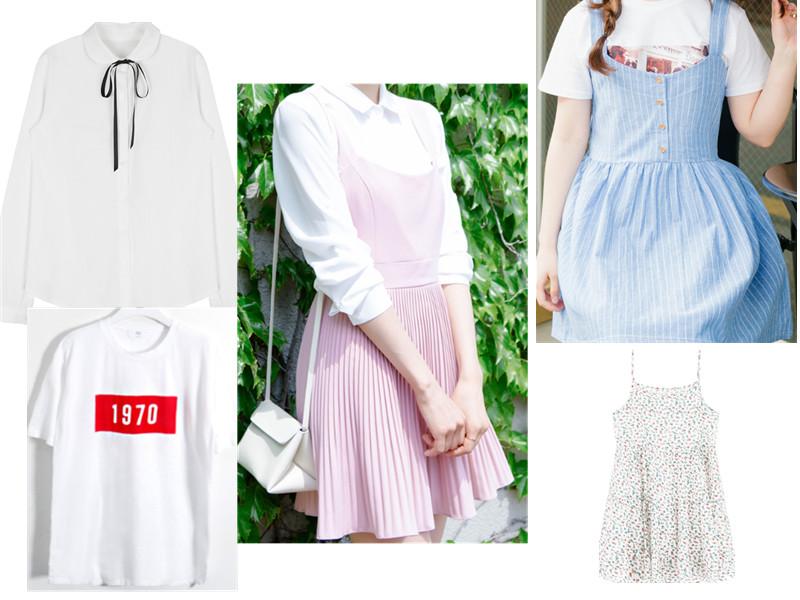 格紋和小碎花都是很好的選擇,單色方面可以選一些適合夏天的清爽顏色,而內搭一件白T或者白襯衣就好了。
