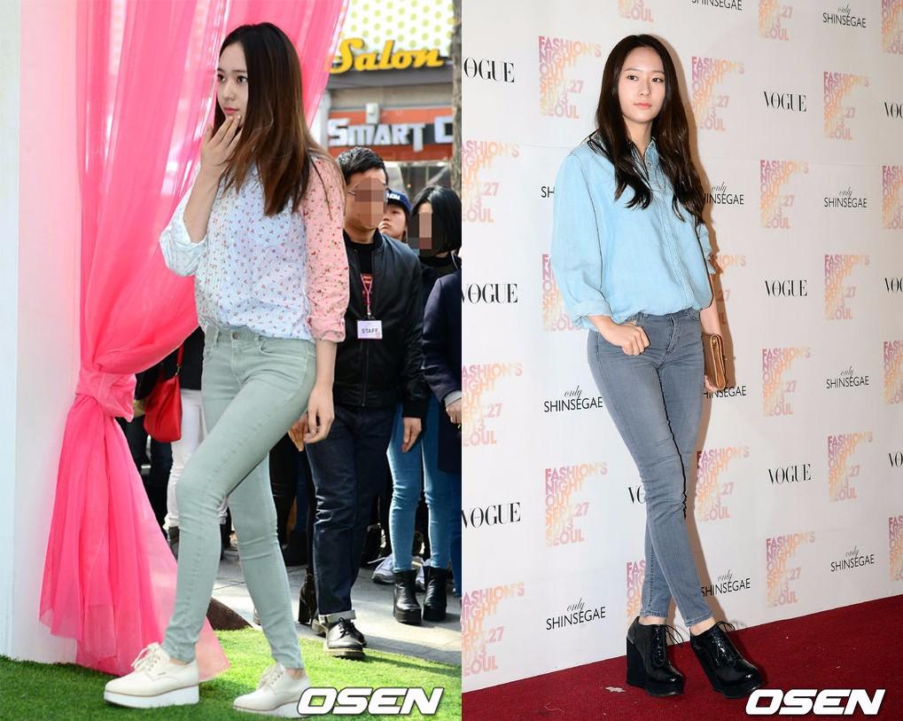 說道襯衣+緊身褲,怎麼能沒有Krystal,這可是Krystal最愛的搭配,除了搭配一般的平頂鞋,小隻女可以像Krysta一樣選一雙厚底鞋來增高,這不僅是最安全不會出錯的搭配,也很容易樹立起乖乖女形象。