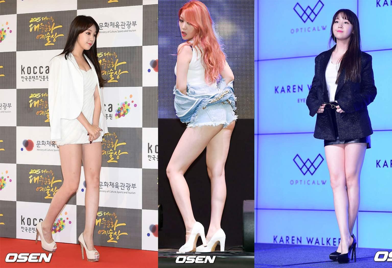 而說到敢露的偶像,大家一定會想到Girl's Day的美腿擔當珉雅吧!不管是舞台上,還是出席活動時,越穿越短的珉雅,每次都險穿幫~~~更在網友和媒體間引起大亂。