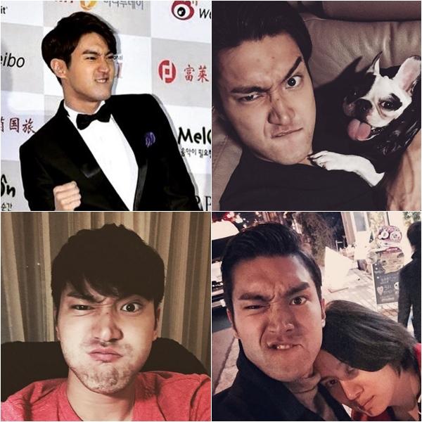 Super Junior - 始源 雖然始源 instagram有很多帥照,但是也是有不少這種照片...好像很喜歡把臉皺成一團的表情