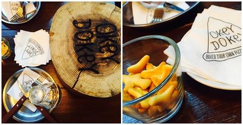 桌上會先擺好餐具水杯,很貼心的有附上小餅乾可以先止餓 ~ 還有一個木頭(?)是用來放餐點的