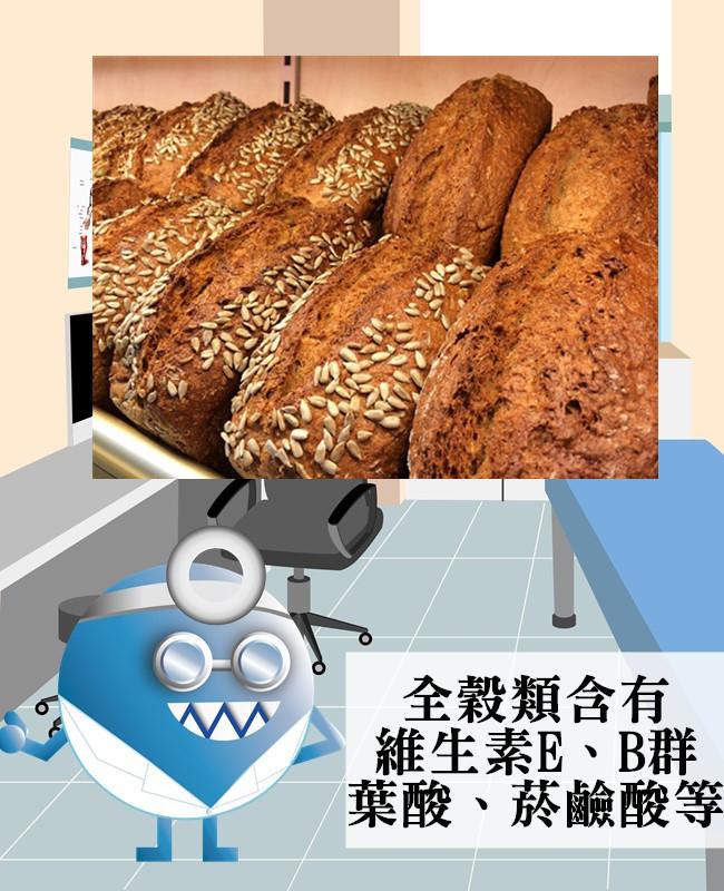 全榖是指含有麩皮、胚乳及胚芽的完整穀粒,若整個穀物經過磨碎、成片狀或粉狀,還保有與原來穀物相同比例的胚乳、胚芽和麩皮,就稱為全穀類。