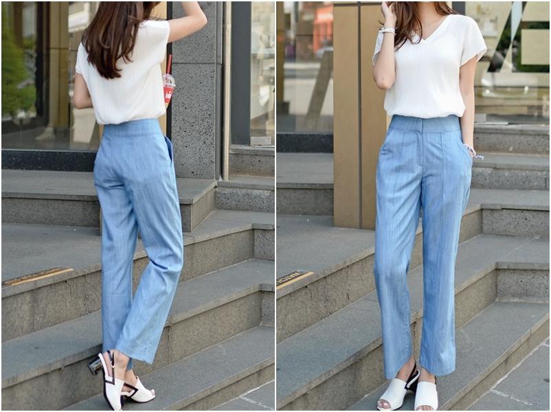 直螺紋狀的白T配上寬褲就是OL上班穿著最好的搭配