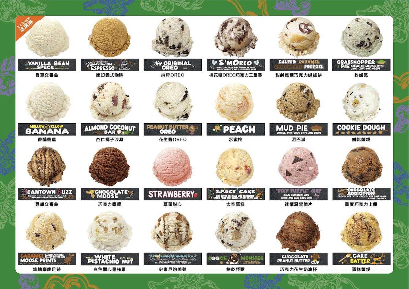台灣共進了24種口味的冰淇淋(看起來都好好吃唷)