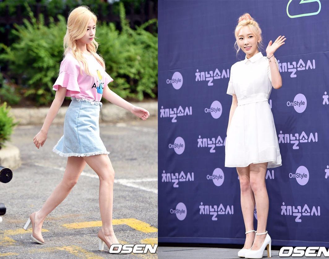 Style⑨一定要嘗試一次高跟鞋 沒有哪個女孩能拒絕的了高跟鞋的誘惑吧?比起那些細高跟體現出的性感成熟美,粗高跟更適合高中生,也更好駕馭,穿搭方面就盡量走甜美風吧!像Sana粉色的荷葉邊T、太妍的白色小洋裝都是很不錯的選擇。