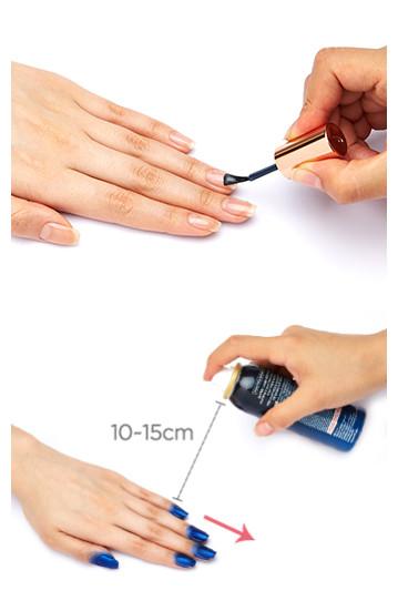 首先開始之前一定要塗好底油,以免傷害到指甲,然後充分搖勻瓶內的指甲油,在距離指甲10~15cm,按照箭頭指示的方法噴,就算噴到指甲外也完全不用擔心。