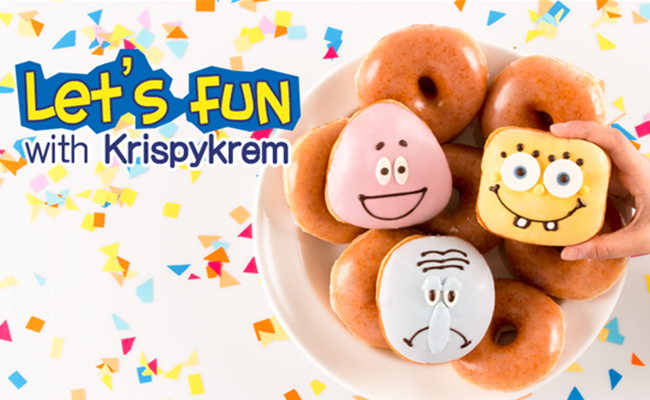 登登~ 就是Krispy Kreme推出的海綿寶寶甜甜圈♡♡♡