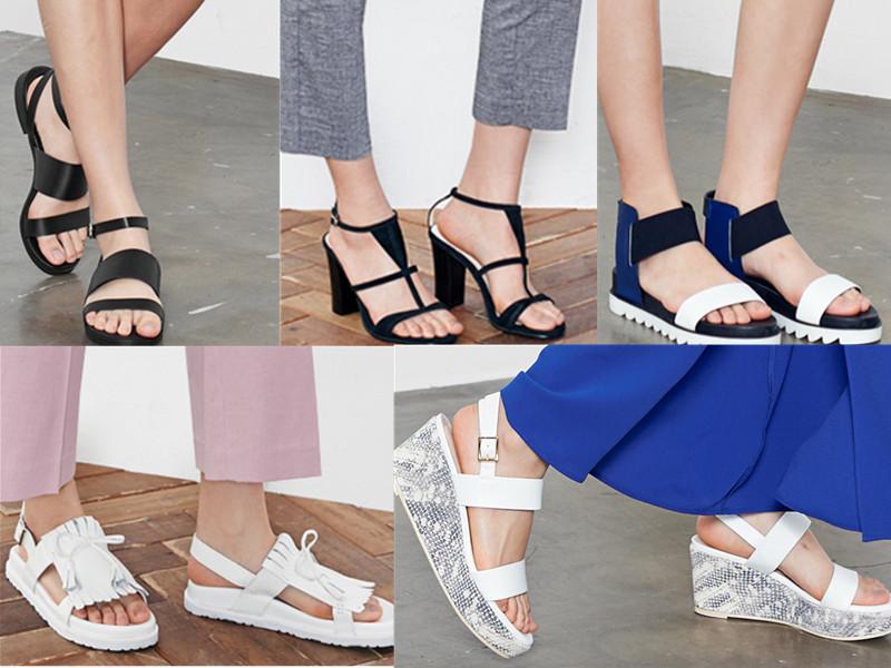 ◆涼鞋 適合上班族的高跟鞋款、今年流行的休閒平底鞋款,單色和拼色款。價格大概在1000~3000台幣。