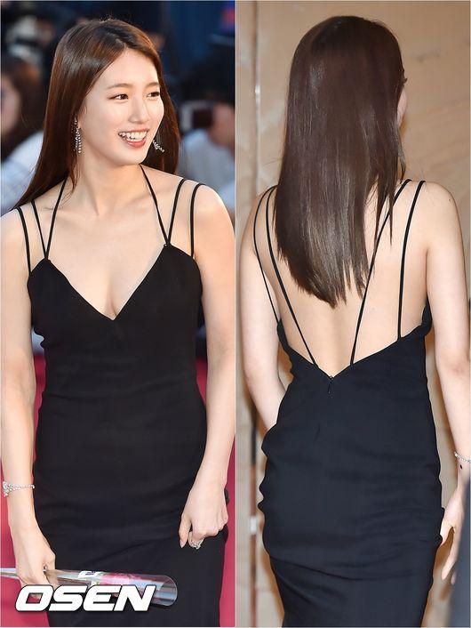 而且這套禮服看點多多,不只前胸低,連後背也光溜溜,要是皮膚不好的人真的是難以駕馭~