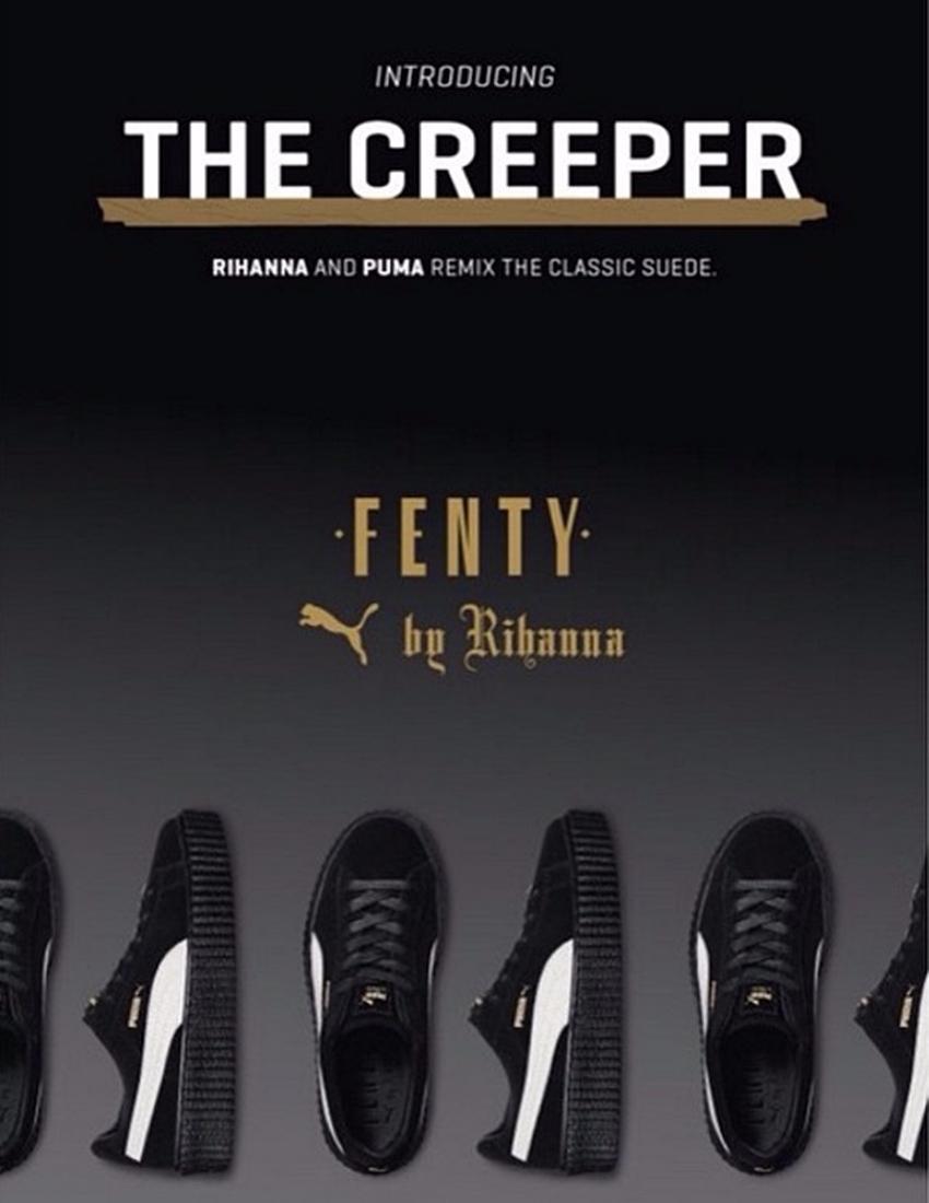這款Creeper,蕾哈娜設計超厚實大底、麂皮鞋面,搶眼設計帶有紐約風格的叛逆搖滾,首度發表就備受關注