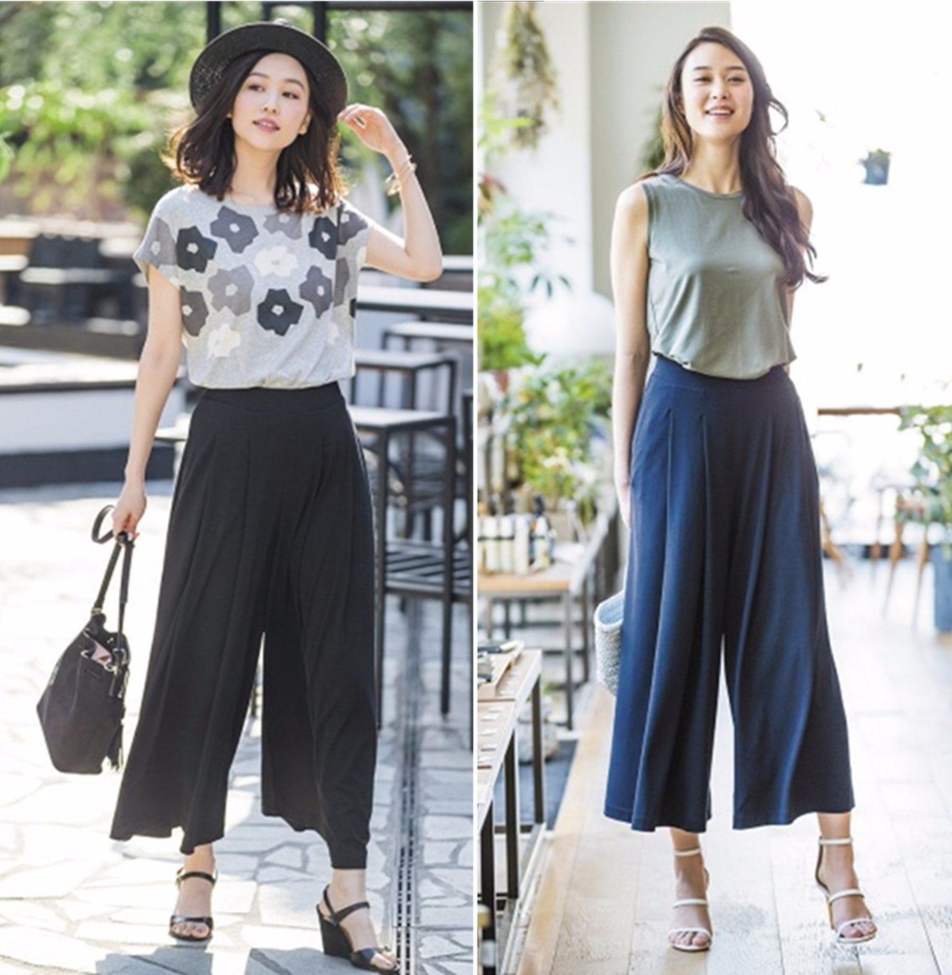 今年UNIQLO就推出不少寬褲、裙,材質從清透的棉、麻到天絲都有,還有新品「寬襬褲」,乍看是長裙,但其實是寬褲!