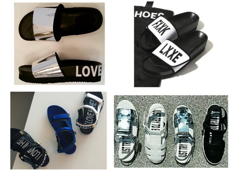 ◆拖鞋、涼鞋 拖鞋和涼鞋也延續了這個潮牌的一貫風格,在鞋跟、鞋面和鞋底都有大大的英文字母設計。