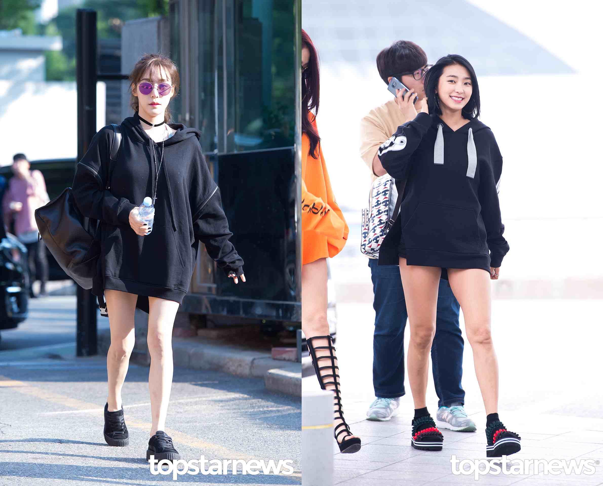 比起哈妮的粉嫩小款帽T,Tiffany和寶拉則選擇黑色的寬鬆款,一身黑的Tiffany性感有型,短頸鏈的搭配也恰到好處!