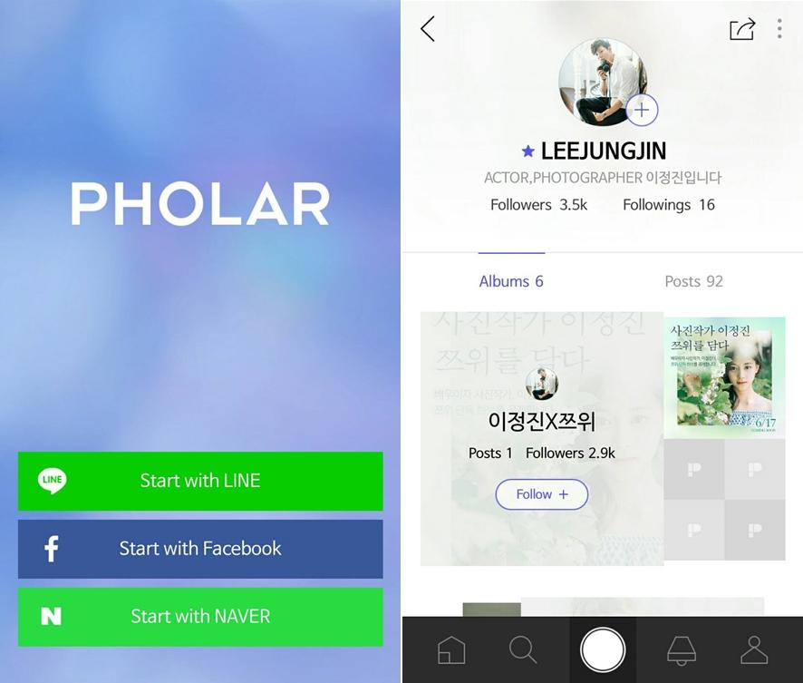 手機搜尋「PHOLAR」並下載,登入後再搜尋李廷鎮的ID「LEEJUNGJIN」
