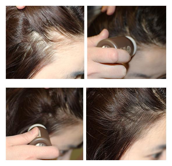 除了用在髮際線,還可以用在額頭髮際線處,修飾臉型。反正任何頭髮稀少的地方,都可以用它來打造濃密感~