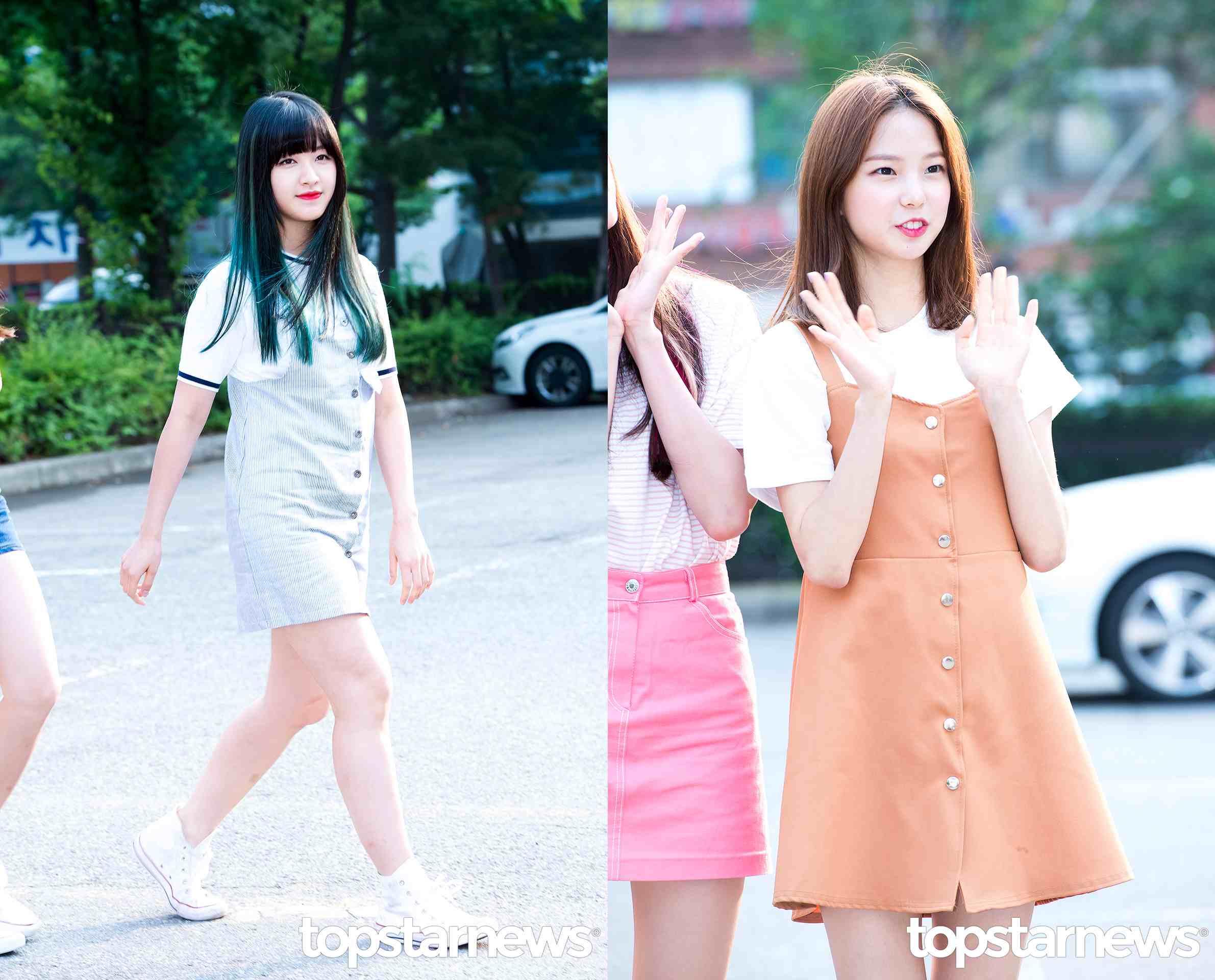 Style② 吊帶裙 吊帶裙去從年開始就一直很火熱,而今年夏天在剪裁上更流行這種前面是繫釦的設計,CLC的 Seung Hee和Yu Jin在最近的上班私服都選擇了這種設計的吊帶裙。內搭一件白T就可以馬上出門了。