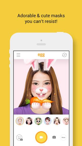 5.艾革 egg 一款一樣是以拍照App為主的軟體,其實基本上和上面介紹的Snow差不多,但是內建的圖案和表情當然不一樣囉!