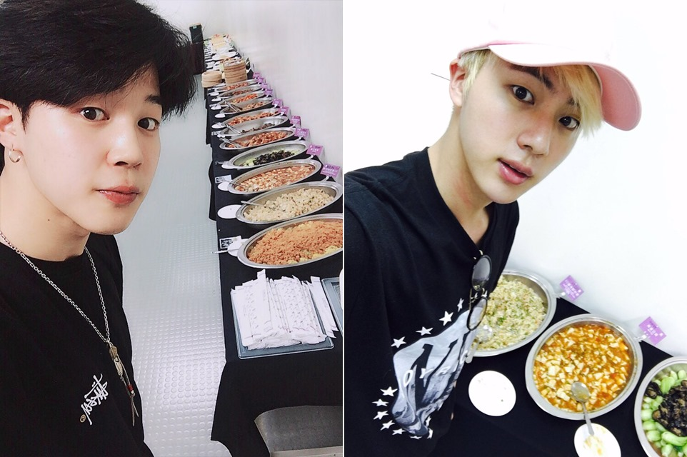 Jimin和Jin之後更在推特上上傳了食物認證照,表達了對A.R.M.Y.們的感謝!果然是貼心鬼無誤啊♡
