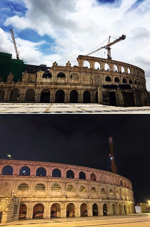 而且漁人碼頭附近逛著逛著,居然來到了羅馬競技場(驚),原來這是當地仿照羅馬競爭場正在興建中的大型表演場地!只能說澳門真的是個充滿異國風情的地方,連羅馬競技場都能複製XD 現場看更壯觀啊!