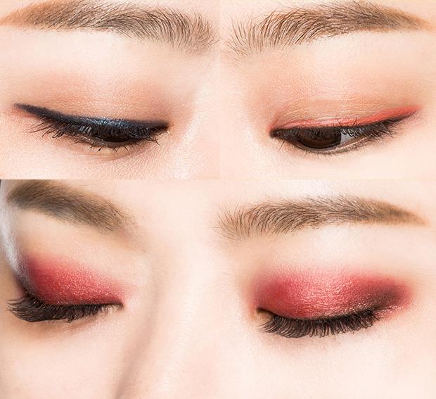 一共10個色號,有帶閃片的,也有不帶閃片的,可以當眼影和眼線筆搭配使用,也可以當眼影單獨使用。偽少女尤愛這款酒紅色。