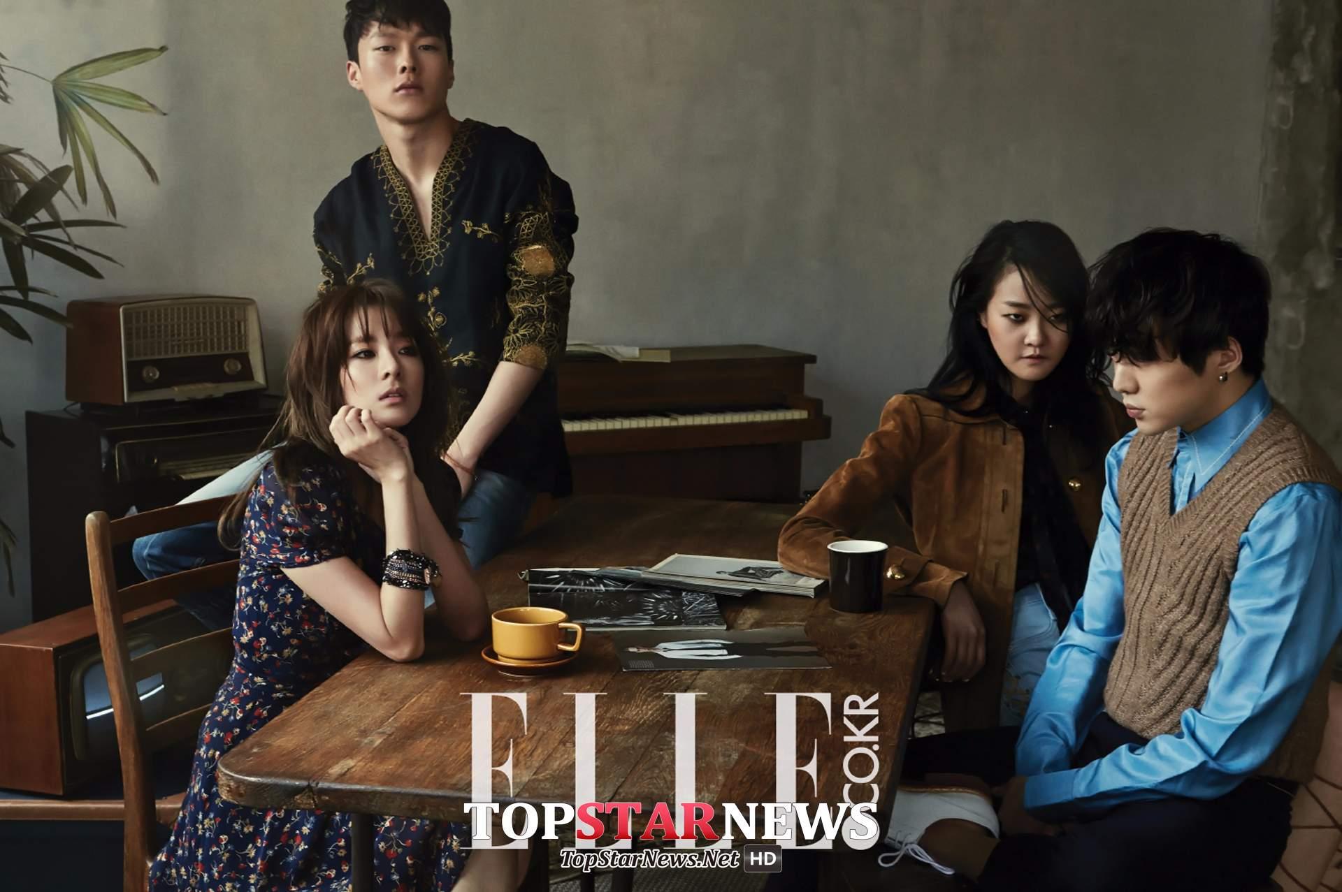 像是去年就跟YG旗下的演員群,Dara、姜勝允、姜承賢一起拍網路電視劇《我們分手了》,最後還一起登上《ELLE》雜誌,四人根本美得像幅畫!