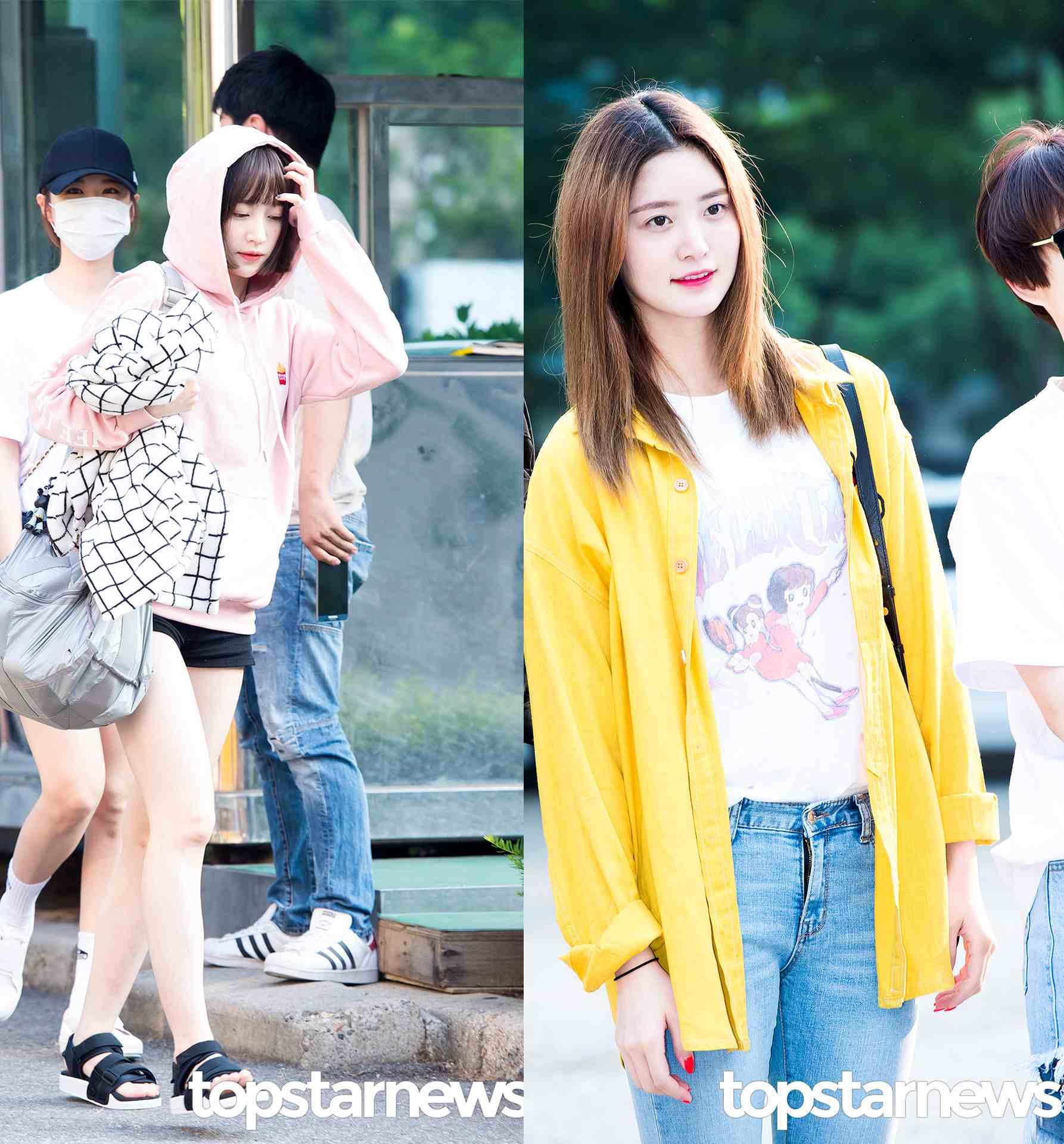 Style⑥ 下雨天 台灣夏天比較多雨,下雨天又會比較冷,可以像正花一樣外搭一件oversize的襯衫,或者像哈妮一樣穿一件連帽T都OK~~~