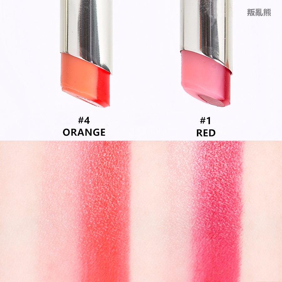 雖然IOPE不能算是平價美妝品牌,但感覺美妞們會對這款新推出的雙色口紅感興趣~叛亂熊挑了幾個色號裡面顏色最漂亮的#1紅色和#4橘色♡