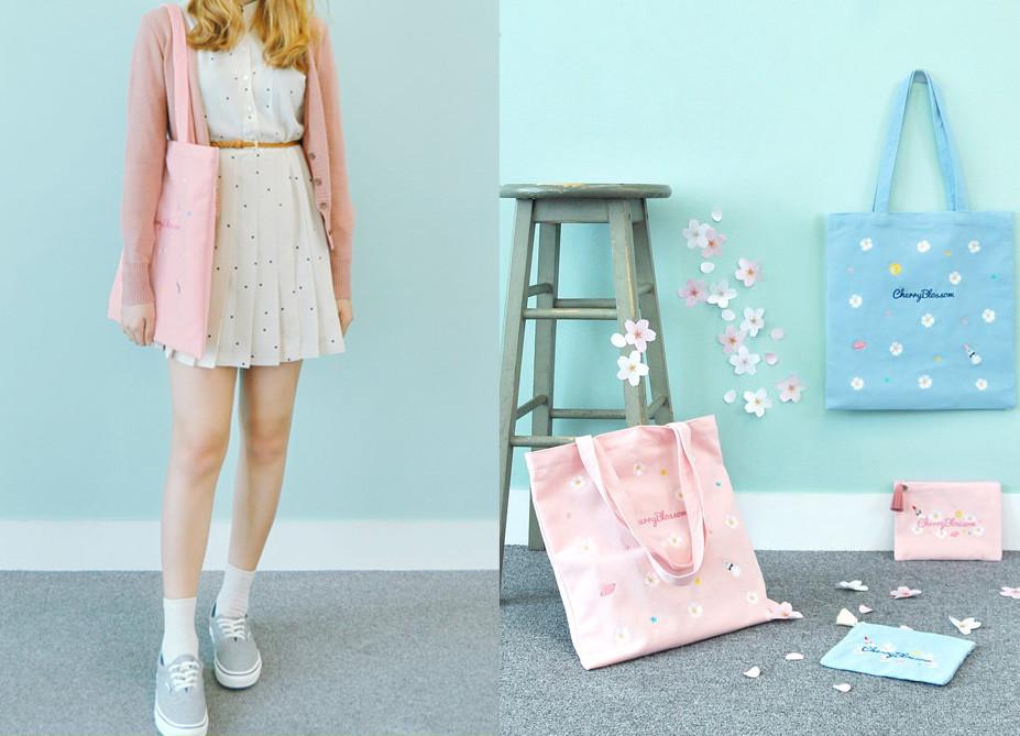 還有甜美的印花圖案帆布包~搭配同樣甜美的波點小洋裝最合適不過了!