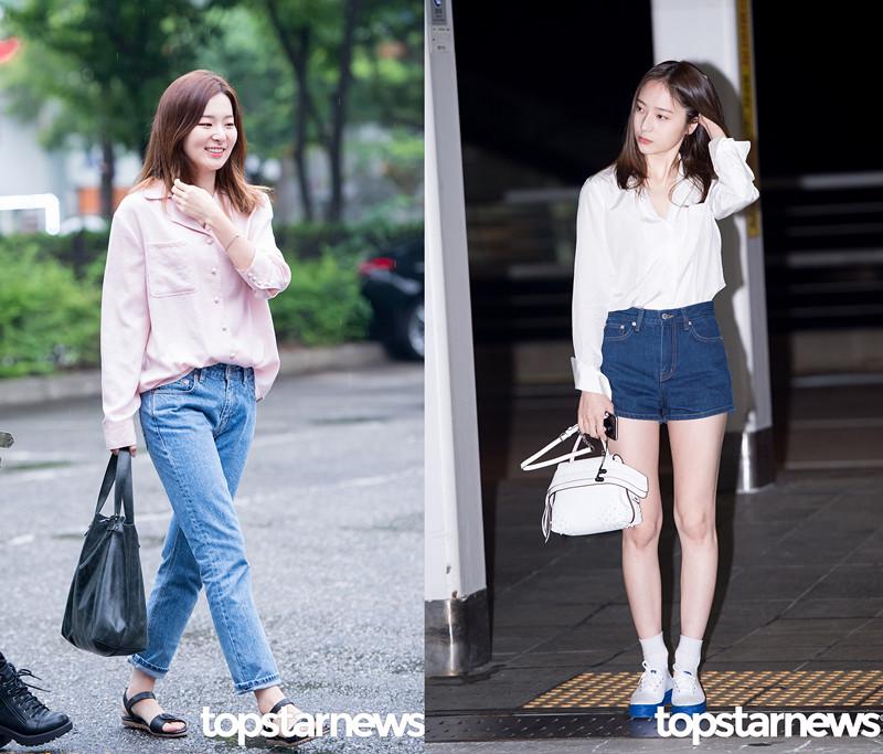 而像Seulgi和Krystal這種單色款「睡衣 」摩登少女也很喜歡,尤其是Seulgi的這身造型,粉嫩又隨性的睡衣搭配水洗色的男朋友褲,好有歐美街頭風的感覺啊~~