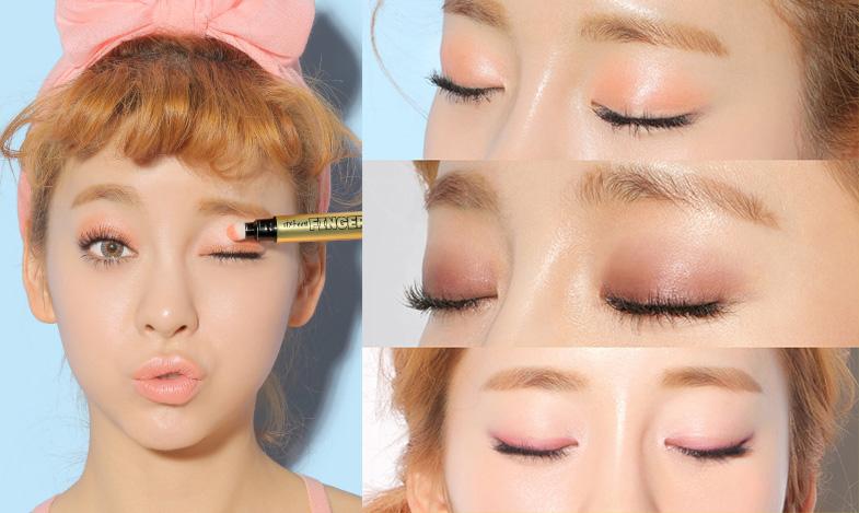 最後呢~還可以當眼影來用,畫在靠近眼線的位置,然後用手慢慢地向上推勻,打造出微煙熏的效果。效果如眼影蜜般服帖顯色。