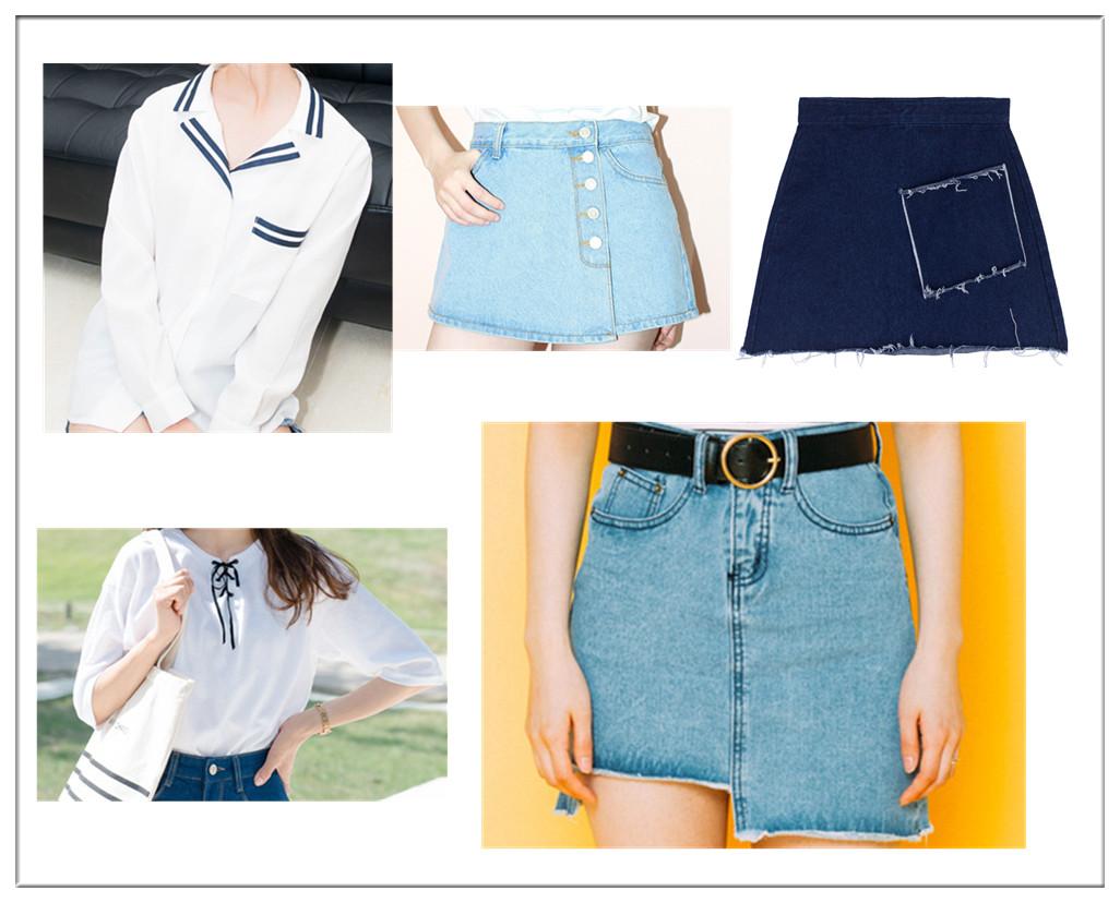除了海軍風的T,領口處繫帶款的T今年夏天在韓國也特別流行,兩款都非常學院風,而A字裙的款式也很多樣,排扣款、補丁款、不對稱款。