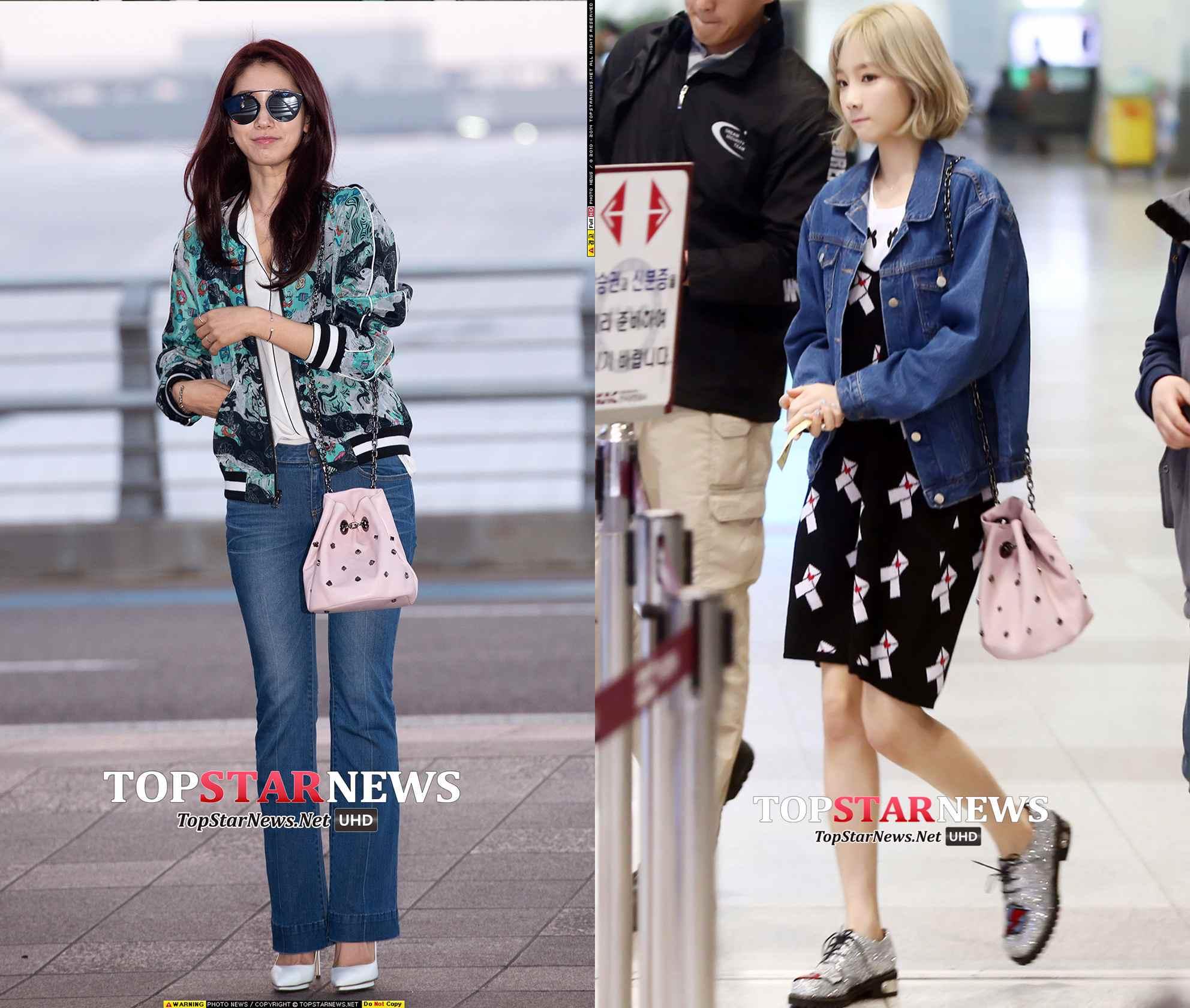 朴信惠和太妍在機場私服中都拿過,有鉚釘款,也有不帶鉚釘的~~