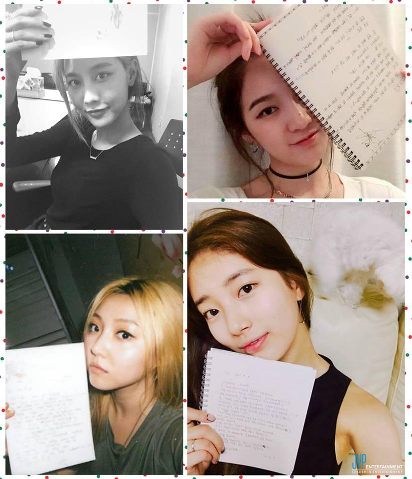 再加上在Jia雖然離團,但在上週missA成軍六週年時依舊公開了四人一起向粉絲道謝的手寫信,更是讓人感受到JYP Family的溫馨。
