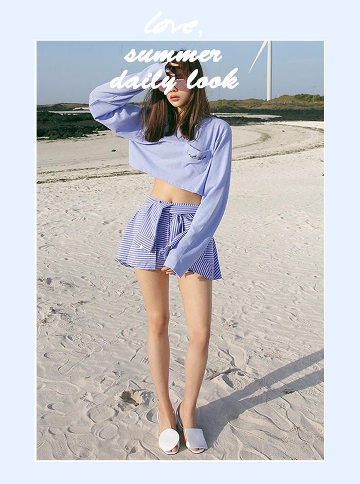 今年流行色&大勢條紋&襯衫衣袖設計 所有今年最流行的元素集一身,還有誰能比你更吸睛?! 同時超短裙還很顯腿長~
