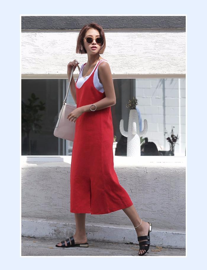 ①潮人街感 背帶是今夏的大熱元素, 大長裙能夠在視覺上拉長你的腿部線條;同還能遮住腿上的肉肉, 很好的修飾你下半身的比例,穿出女神感~