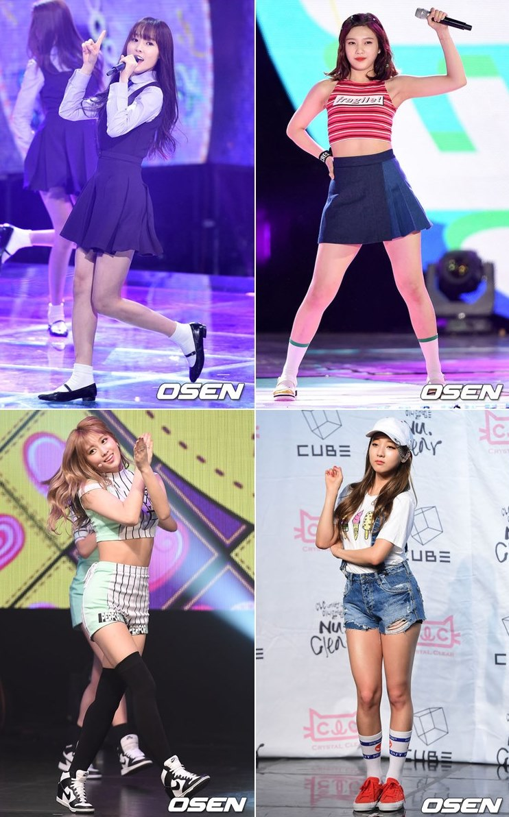 GFRIEND Yuju、Red Velvet Joy、TWICE Momo和CLC丞延,這組的合作舞台也被大力稱讚,四人高挑的身材就像來自同一個團體一樣協調!真的身材都超級好欸~~~~